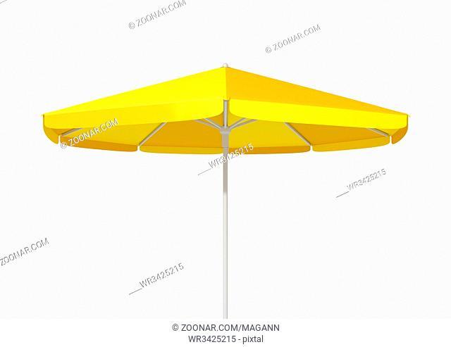 3d illustration of a typical yellow umbrella sunshade
