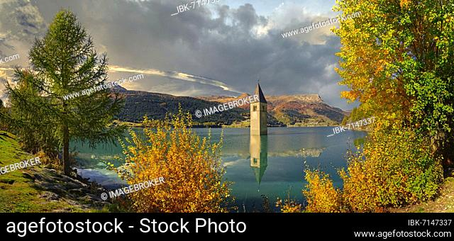 Church tower in Lake Reschen, Graun, Reschen, Trentino-Alto Adige, Italy, Europe