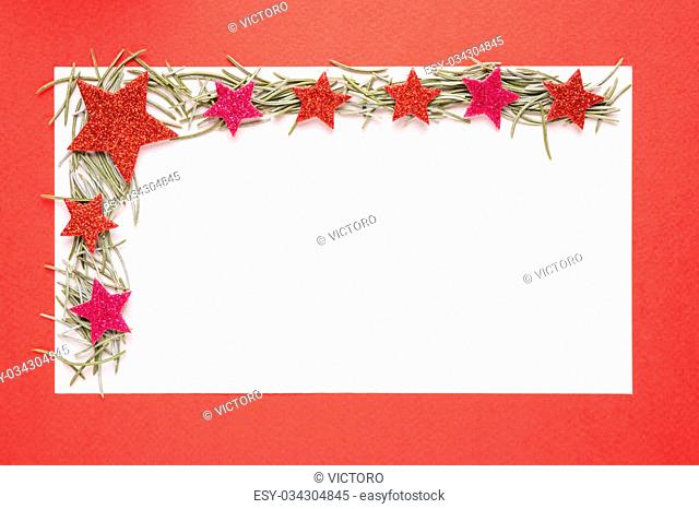 Blank Christmas card or invitation with fir on red background