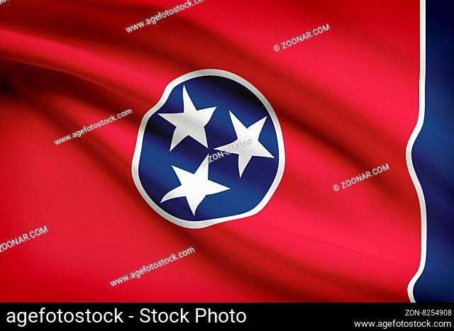 State of Tennessee flag blowing in the wind. Part of a series