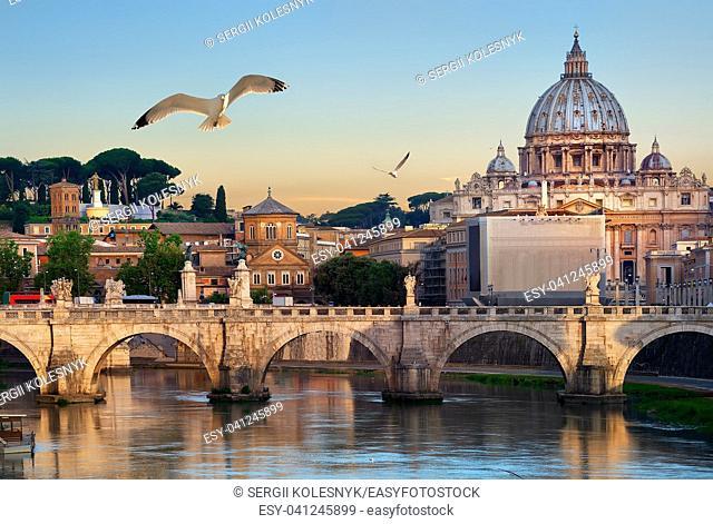 Birds flying over Tiber river near Vatican and bridge of Vittorio Emanuele II, Italy