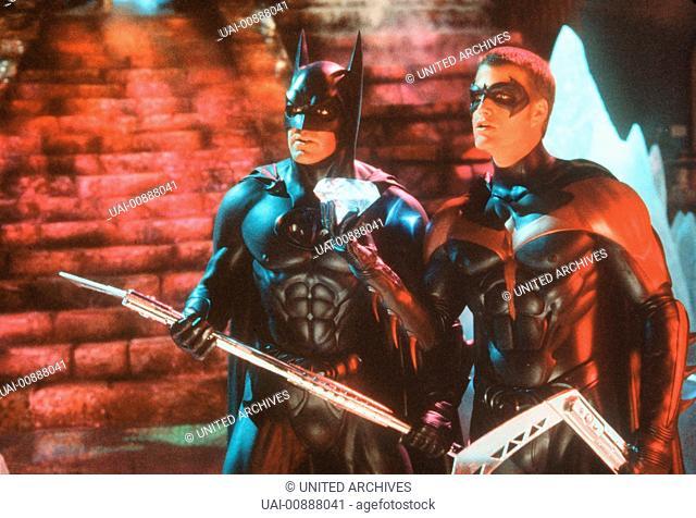 BATMAN & ROBIN- Batman (GEORGE CLOONEY) hat in Robin (CHRIS O'DONNELL) einen treuen Kampfgefährten. Regie: Joel Schumacher aka