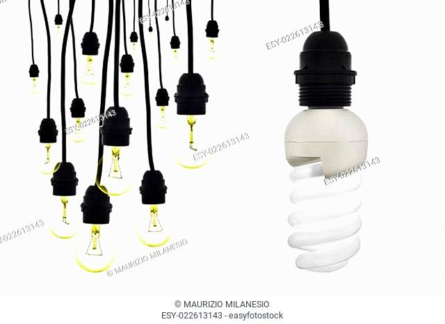 A lamp with low consumption compared to tungsten bulbs