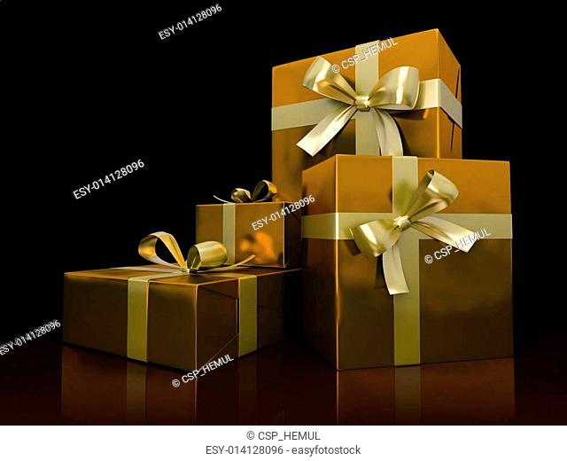 Luxurious gift boxes isolated on black background
