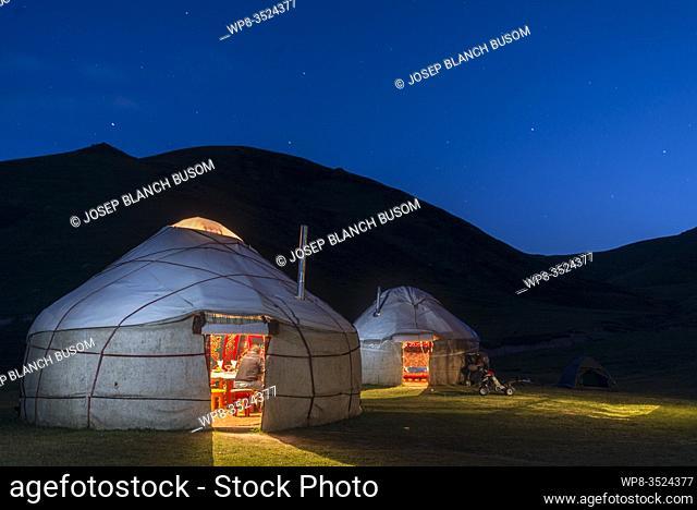 Naryn region, Kyrgyzstan. Silk Road. Night in the caravanserai camp of Tash Rabat