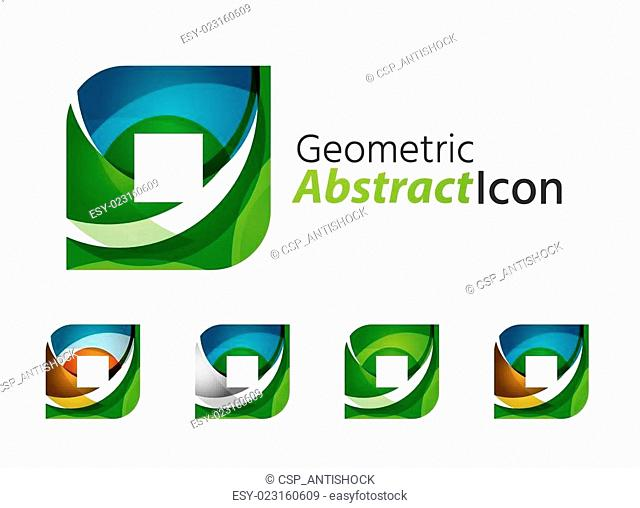 Set of abstract geometric company logo square, rhomb