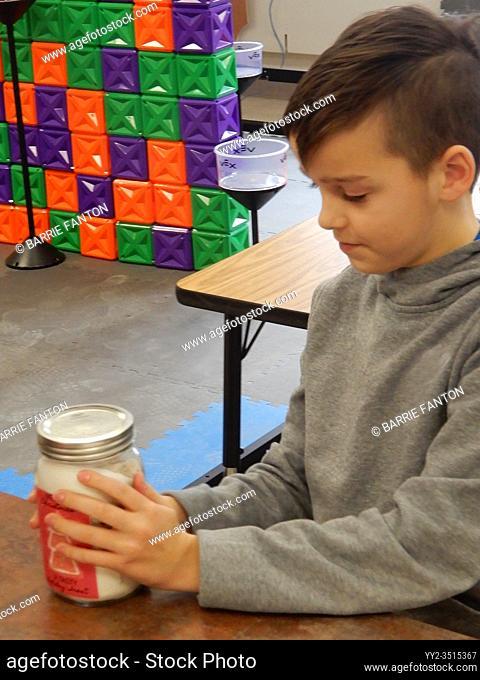 6th Grade Boy Working on STEM Project, Wellsville, New York, USA