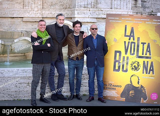 Italian actors Massimo Ghini, Max Tortora, Francesco Montanari with the director Vincenzo Marra at the presentation of the film La vola buona