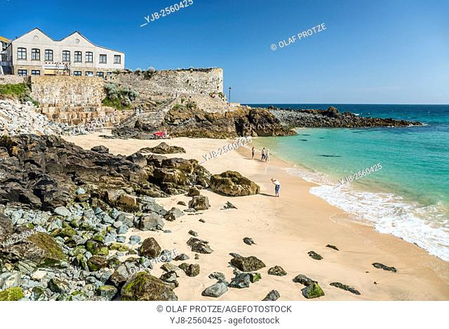 View over Bamaluz Beach of St. Ives, seen from Smeatons Pier, Cornwall, England, UK