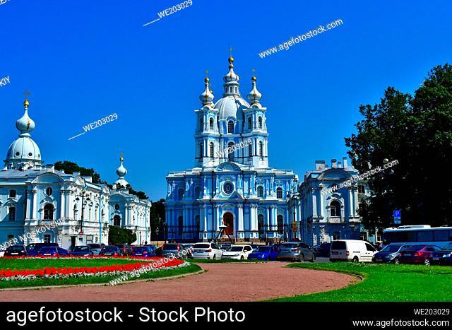 Smolny Cathedral exterior facade panoramic view. Smolny Monastery. Baroque architecture style. Architect B. Rastrelli