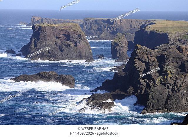 Scotland, Shetland islands, eshaness, mainland, west coast, Atlantic, cliffs, sea, Great Britain, Europe