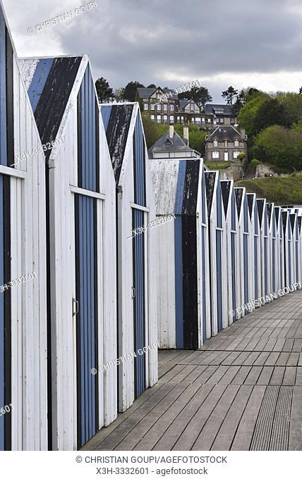 cabines de bain sur la plage d' Yport, departement de Seine-Maritime, region Normandie, France/beach huts at Yport, Seine-Maritime department, Normandy region