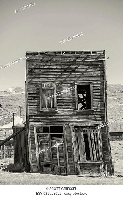 Leaning two story ghost town building at Bodie in California