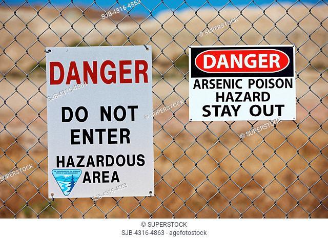Danger signs warning of Arsenic poison danger, California Desert