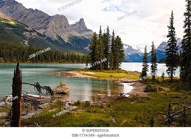 View of Spirit Island, Maligne Lake, Jasper National Park, Alberta, Canada