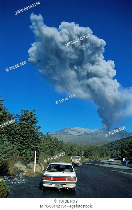 Mount Ruapehu eruption in 1996, seen from Whakapapa Village, Northwest Slope, Tongariro National Park, New Zealand