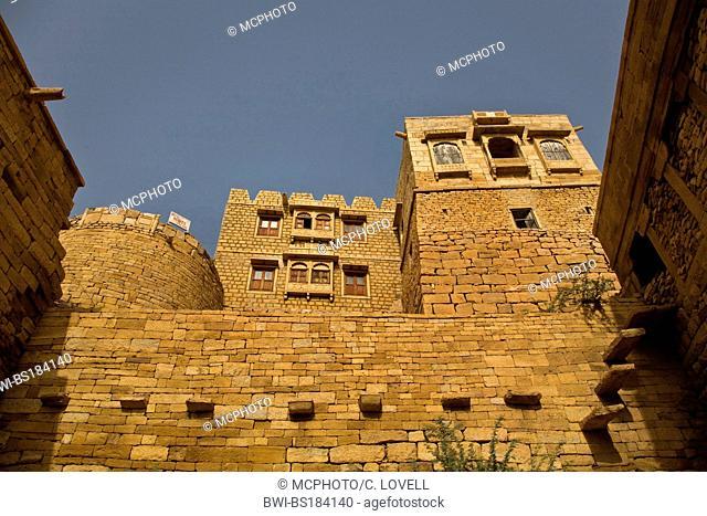 MAHARAJA PALACE as seen from the AKSAYA GATE the main entrance to JAISALMER FORT, India, Rajasthan