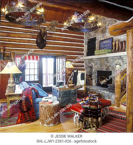 LIVING ROOMS: Log walls, raised hearth, stone fireplace, rustic furnishings. Native American drum, balcony, carved newel-post to resemble old man, moose head
