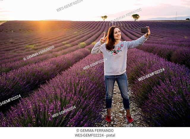 France, Valensole, smiling woman taking selfie at lavender field by sunset