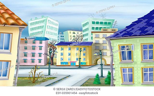 Cityscape in a late autumn Day. Digital Painting Background, Illustration in cartoon style character