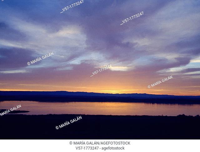 Sariñena lake at dusk. Huesca province, Aragon, Spain