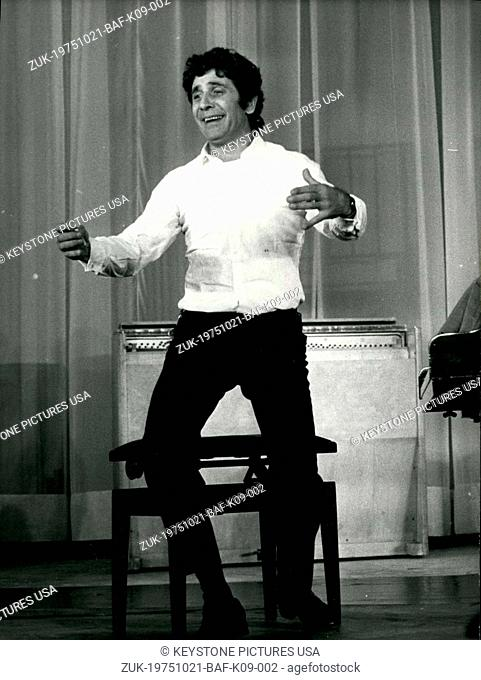 Oct. 21, 1975 - After a two-year absence, Gilbert Becaud will sing at the Olympia in Paris for six weeks, starting Wednesday