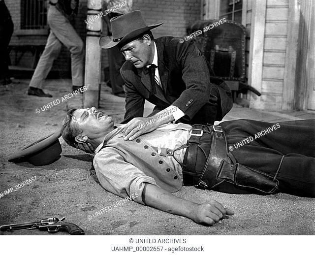 Auf der Kugel stand kein Name, (NO NAME ON THE BULLET) USA 1958, Regie: Jack Arnold, WILLIS BOUCHEY; CHARLES DRAKE; Key: Revolver, Waffe, Verletzter