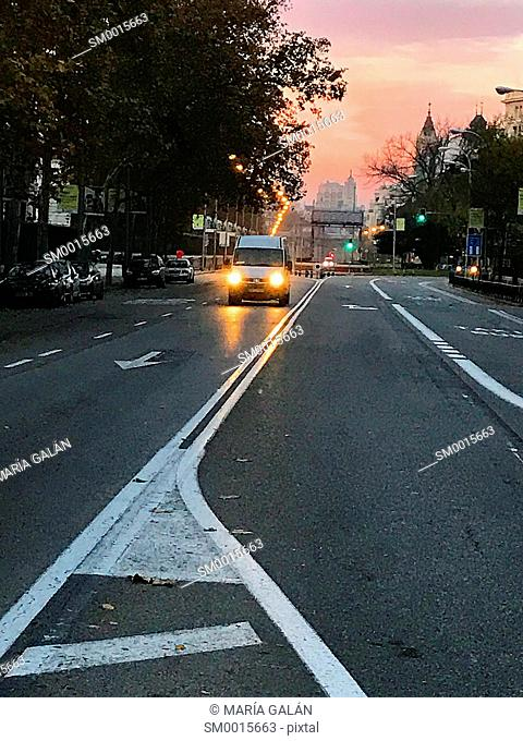 O'Donnell street at dawn. Madrid, Spain