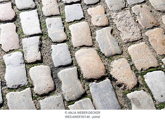 Cobblestone pavement, elevated view, full frame