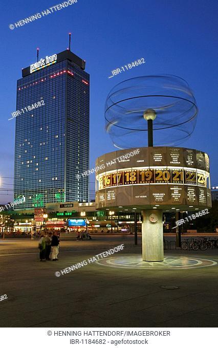 Park Inn Hotel and the World Clock on Alexanderplatz in Berlin, Germany, Europe