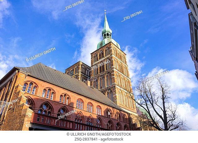 View of St. Nicholas' Church, Hanseatic City of Stralsund, Mecklenburg-Pomerania, Germany