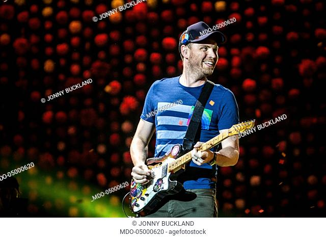 Musician Jonny Buckland, guitarist of Coldplay, in concert at San Siro Stadium during the Head Full of Dreams Tour. Milan, Italy. 3rd July 2017