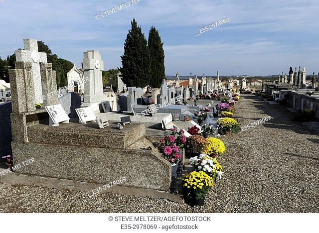 Flowers put out in a village cemetery for the Toussaint Holiday- Nov. 1. , Pézenas, Herault, Occitanie, France