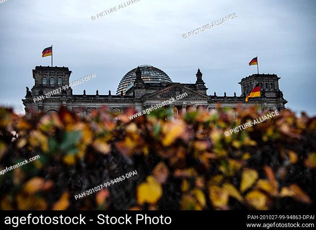 27 October 2020, Berlin: The Reichstag building can be seen behind autumnally coloured leaves. Photo: Paul Zinken/dpa-Zentralbild/dpa