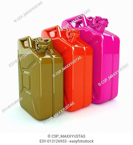 Three Jerrycan. Fuel can on white background