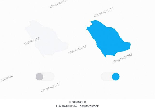 An Active and Inactive Illustrated Country Shape of Saudi Arabia