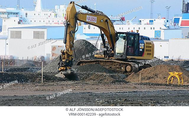 Working with excavator