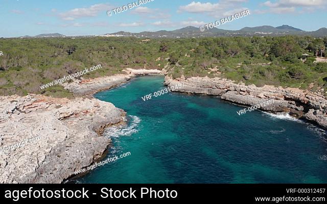La playa de Cala Brafi, Santanyi, Mallorca, España
