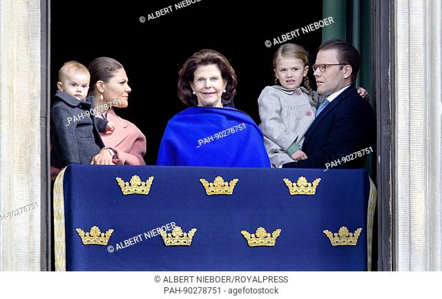 Queen Silvia, Crown Princess Victoria, Prince Daniel, Princess Estelle, Prince Oscar of Sweden at the Royal Palace in Stockholm, on April 30, 2017