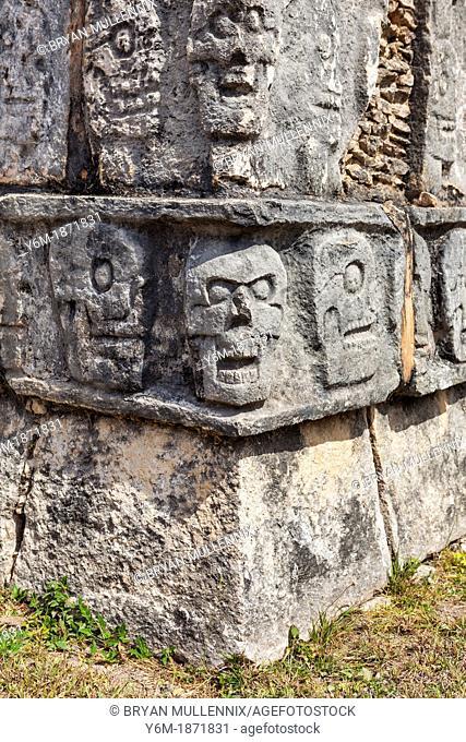Tzompantli or Platform of the skulls, Chichen Itza, Yucatan Peninsula, Quintana Roo, Mexico The skulls of enemies killed in battle or sacraficed were placed...