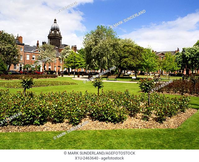 Park Square and Leeds Town Hall Leeds West Yorkshire England