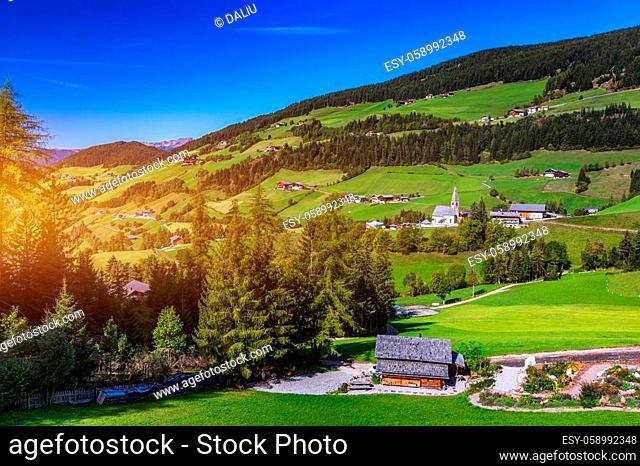 Santa Maddalena (Santa Magdalena) village with magical Dolomites mountains in background, Val di Funes valley, Trentino Alto Adige region, South Tyrol, Italy