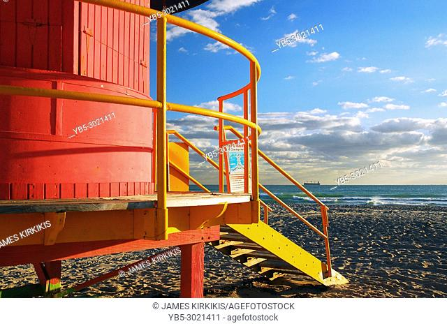 Stairs lead to a colorful Lifeguard Shelter on South Beach, Miami