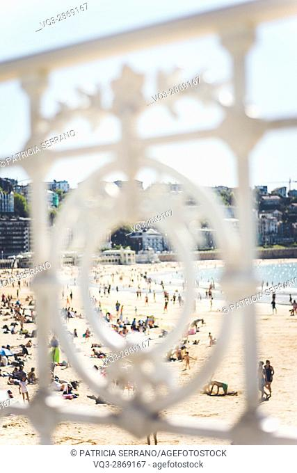 People on the beach. From san sebastian, Donosti, Spain