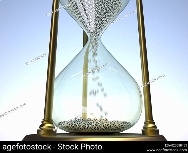 Sand glas with soccerballs - time runs out