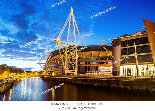 Millennium Stadium and the river Taff, Cardiff City Centre, Cardiff, Wales, UK