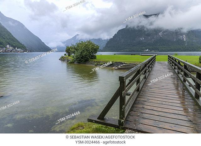 Lake Hallstatt seen from Lahn, Oberösterreich, Austria, Europe