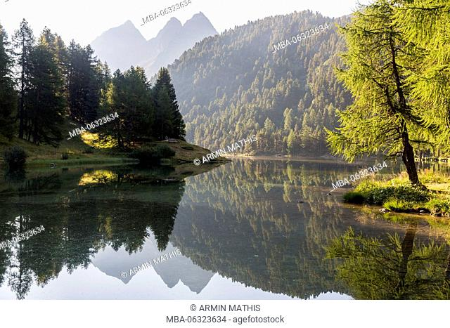 Morning mood at Lai da Palpuogna, a picturesque lake in Canton of Grisons