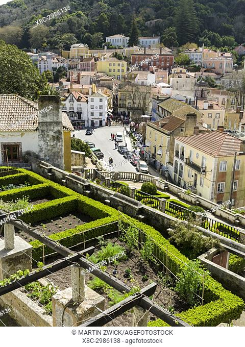 Palacio Nacional de Sintra, the national palace in Sintra, near Lisbon, part of the UNESCO world heritage. View of the town of Sintra from the vegetable garden