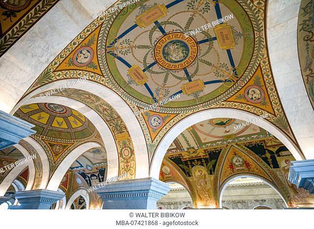 USA, District of Columbia, Washington, Library of Congress, Thomas Jefferson Building, interior